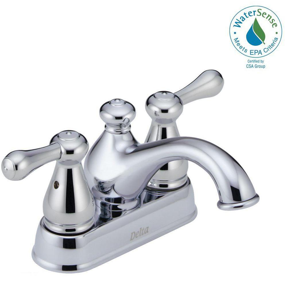 Delta Leland 4 in. Centerset 2-Handle Bathroom Faucet in Chrome ...