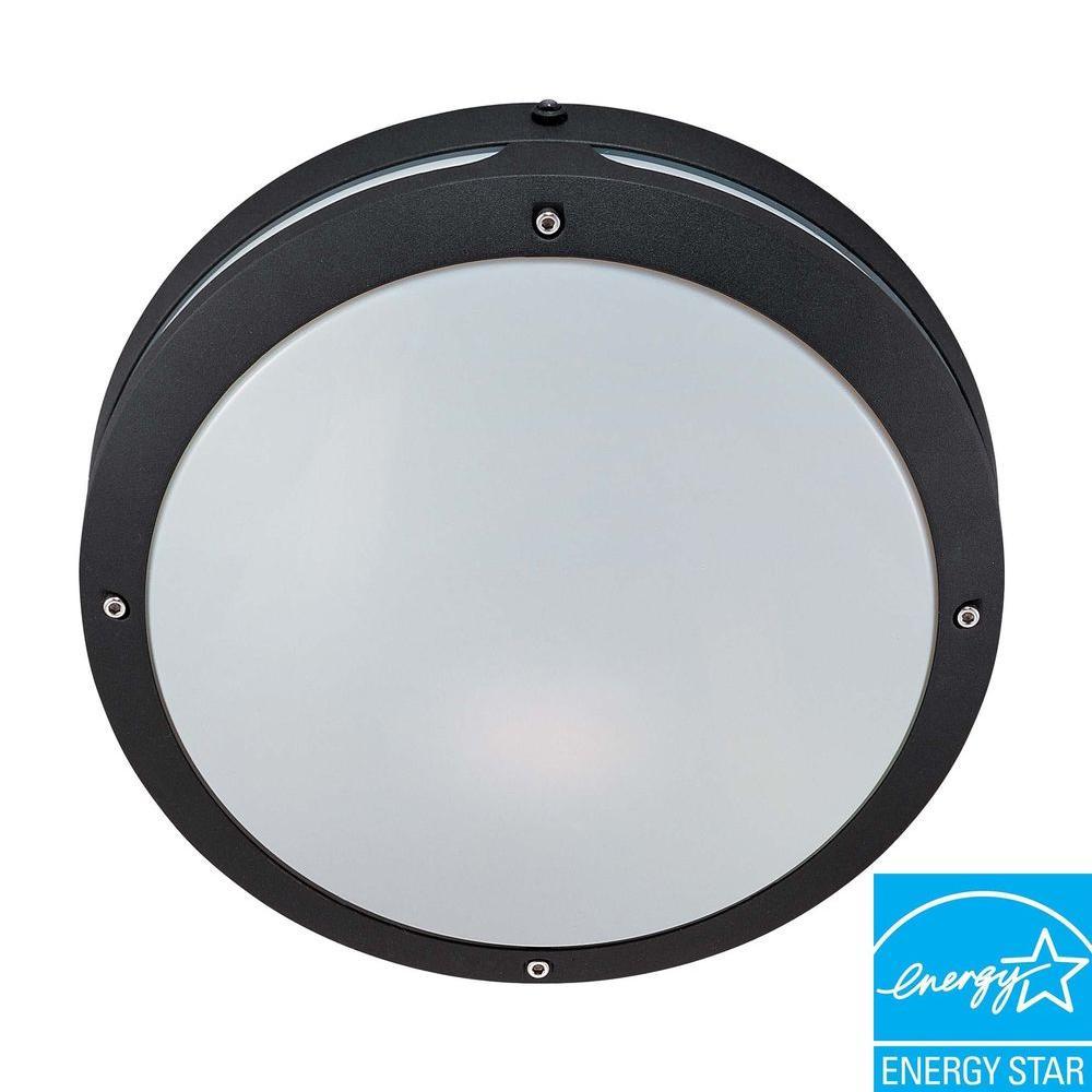 Wall/Ceiling 2-Light Outdoor Matte Black Round Fixture