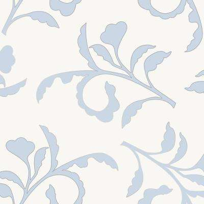 Cynthia Rowley for Tempaper Big Branch Light Blue and Ivory Self-Adhesive Removable Wallpaper