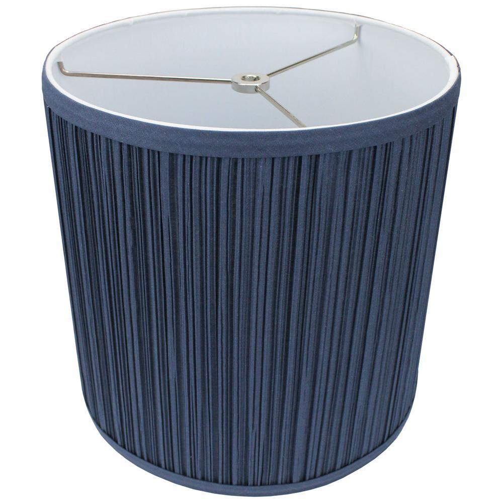 10 in. Top Diameter x 10 in. H x 10 in. Bottom Diameter Pleated Mushroom Navy Blue Drum Lamp Shade