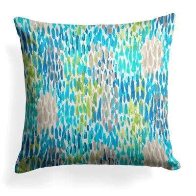 Peacock Feathers Blue Square Outdoor Throw Pillow