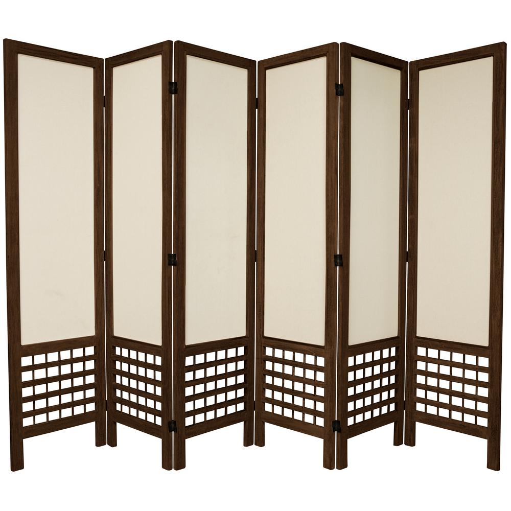 Oriental 6 ft. Burnt Brown Open Muslin 6-Panel Room Divider