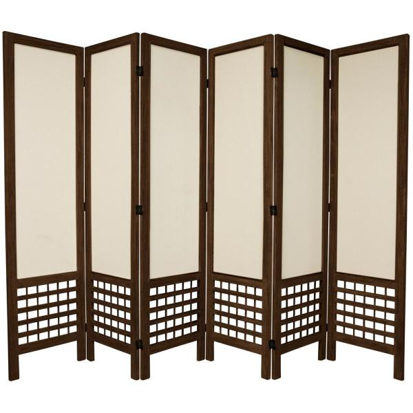 5.5 ft. Burnt Brown Open Muslin 6-Panel Room Divider