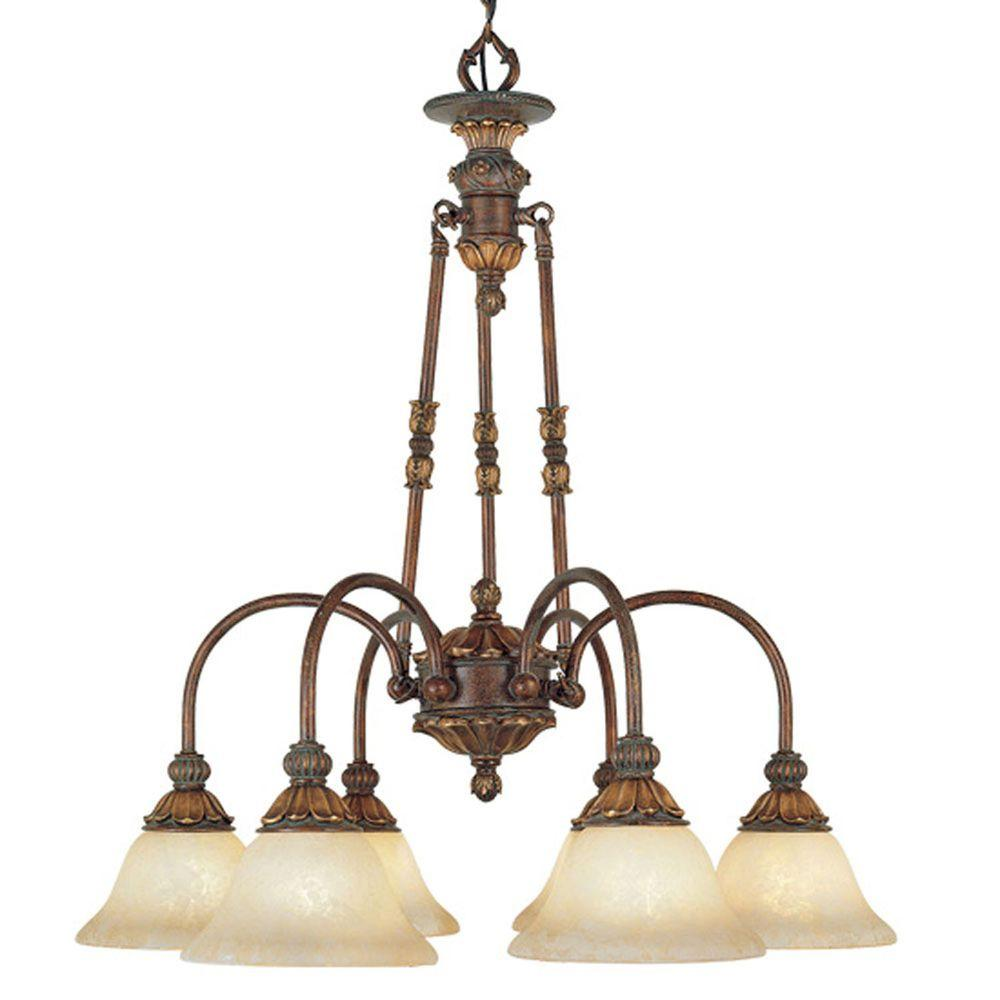 6-Light Crackled Greek Bronze Incandescent Ceiling Chandelier with Aged Gold