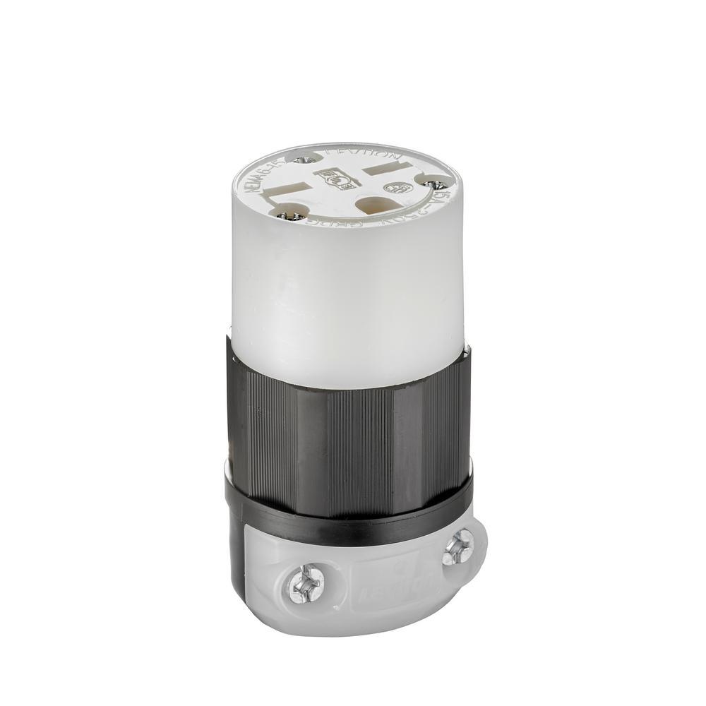 15 Amp 250-Volt NEMA 6-15R Straight Blade Connector, Black and White