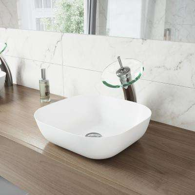 Camellia Vessel Sink in White Matte Stone with Waterfall Faucet in Chrome and Pop-Up Drain Included