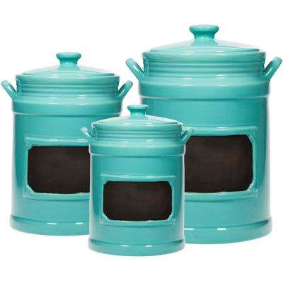 Set of 3 Aqua Chalkboard Canisters With Handles