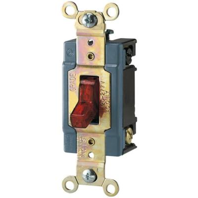 15 Amp 120/277-Volt Industrial Grade Toggle Switch with Pilot Light, Red