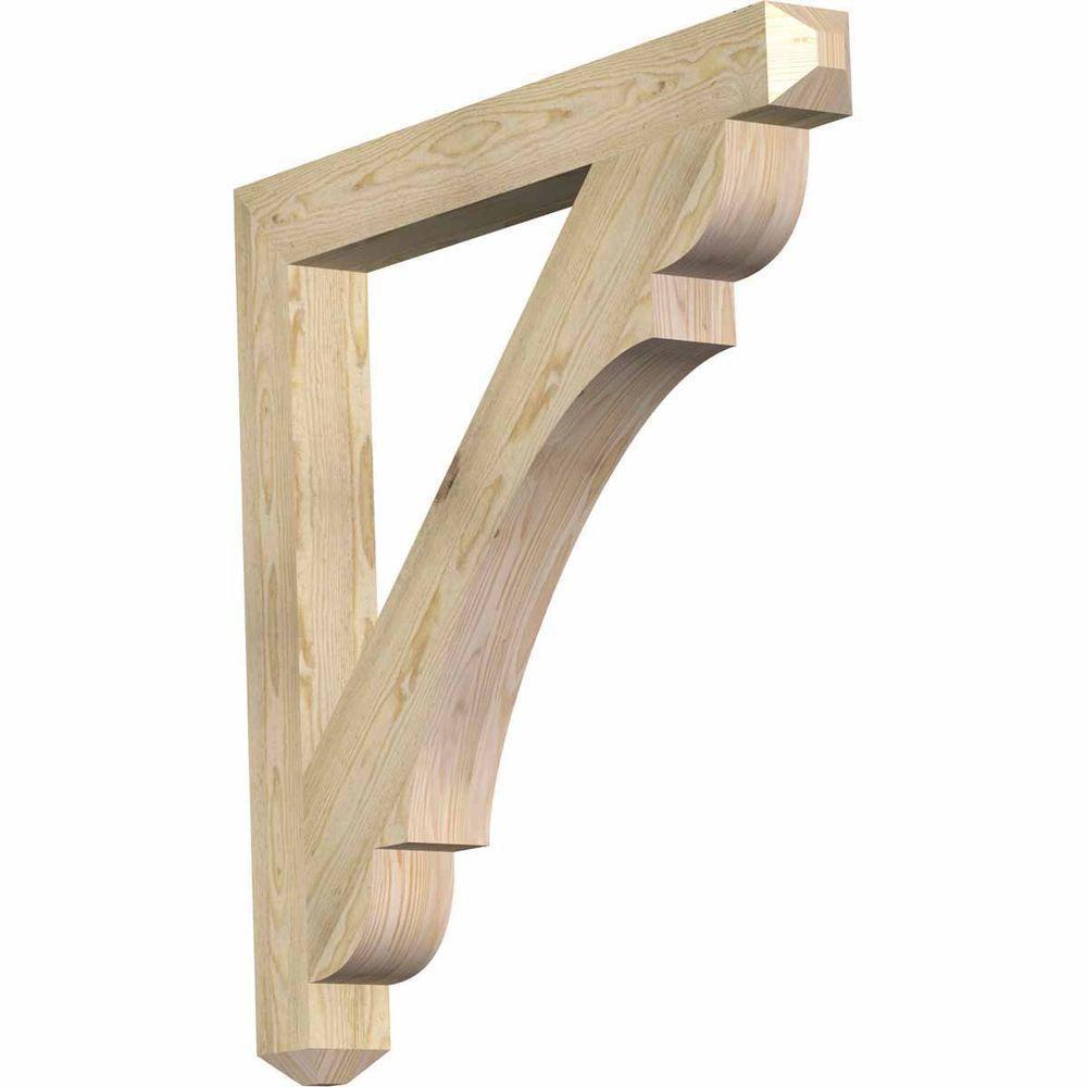 Ekena Millwork 4 in. x 38 in. x 38 in. Douglas Fir Olympic Craftsman Rough Sawn Bracket