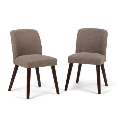 Emery Mid Century Modern Dining Chair (Set of 2) in Fawn Brown Linen Look Fabric