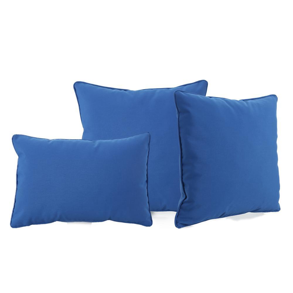 Coronado Blue Square Outdoor Throw Pillow (3-Pack)