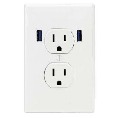 15 Amp Standard Duplex Wall Outlet with 2 Built-in USB Charging Ports - White