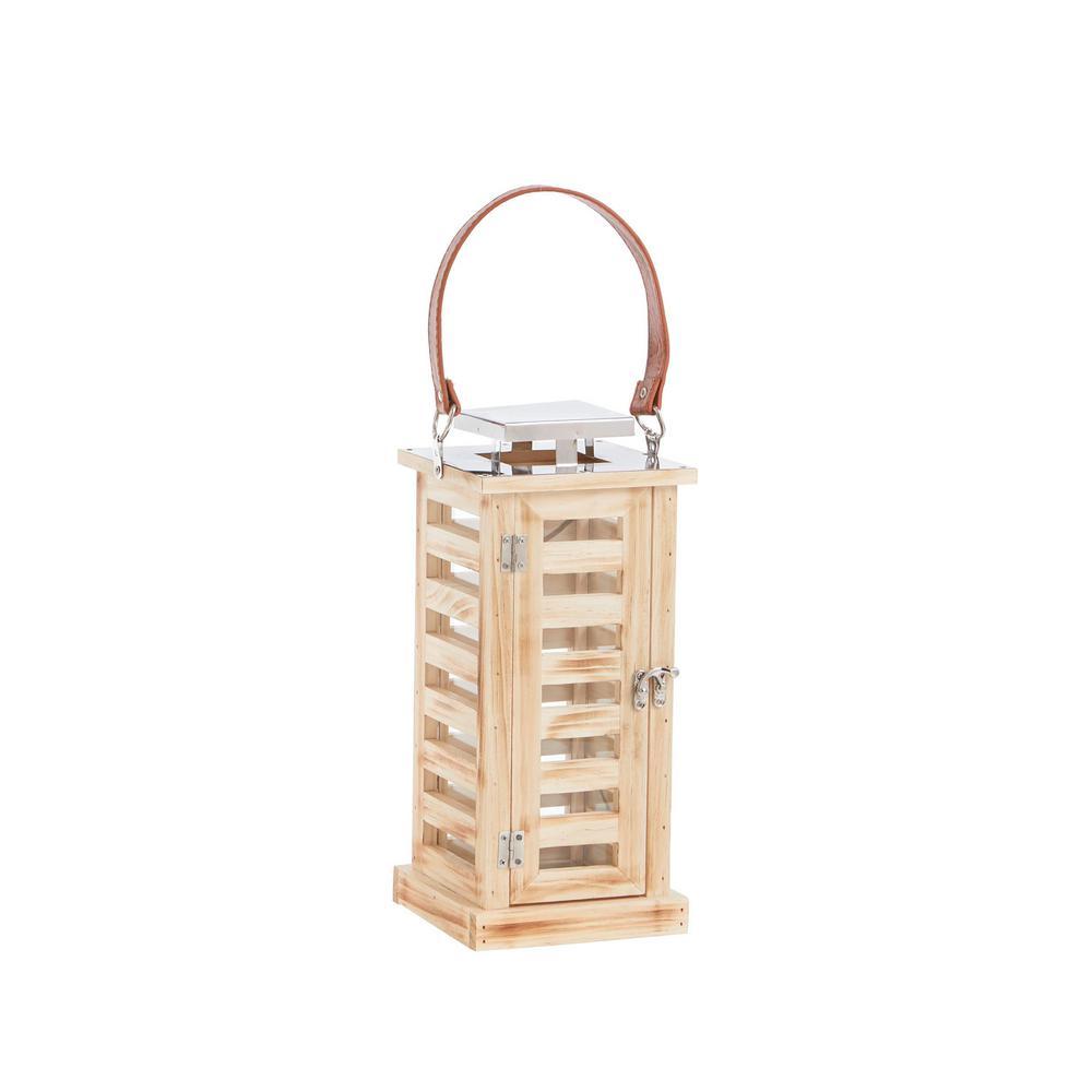 14 in. Wood and Metal Outdoor Patio Rectangular Lantern