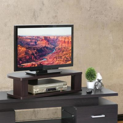 Indo 31 in. Espresso Particle Board Swivel Entertainment Center Fits TVs Up to 32 in. with Open Storage