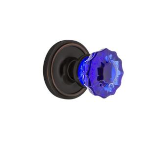 Nostalgic Warehouse Cottage Plate 2 3 8 In Backset Oil Rubbed Bronze Passage Hall Closet Crystal Cobalt Glass Door Knob 720297 The Home Depot