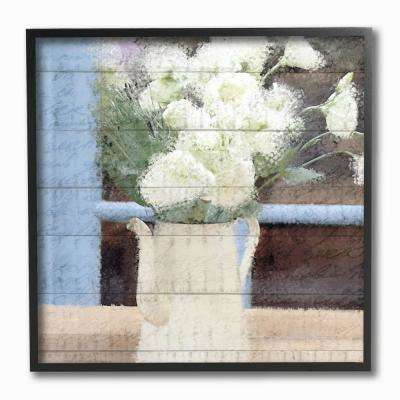"12 in. x 12 in. ""Painted Watercan and White Flowers on Planked Wood"" by Kimberly Allen Framed Wall Art"