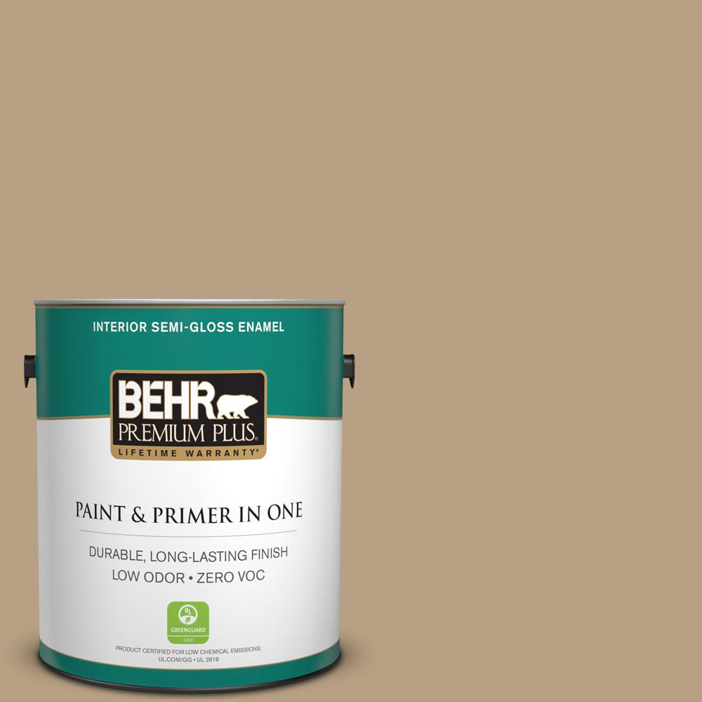 BEHR Premium Plus Home Decorators Collection 1-gal. #HDC-AC-12 Craft Brown Zero VOC Semi-Gloss Enamel Interior Paint