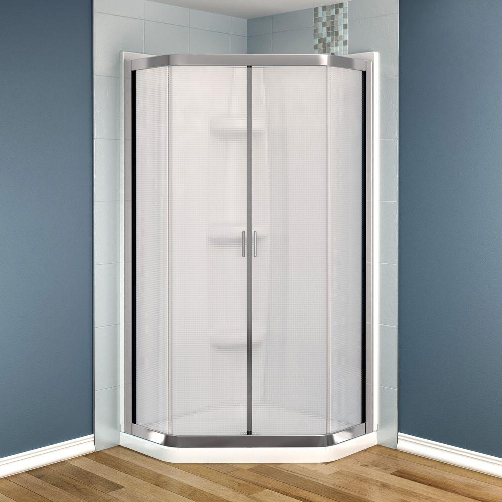 MAAX Intuition Neo-Angle 36 in. x 36 in. x 73 in. Shower Kit in Nickel with Mistelite Glass and Base, Walls in White