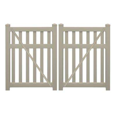 Captiva 8 ft. x 5 ft. Khaki Vinyl Pool Double Fence Gate