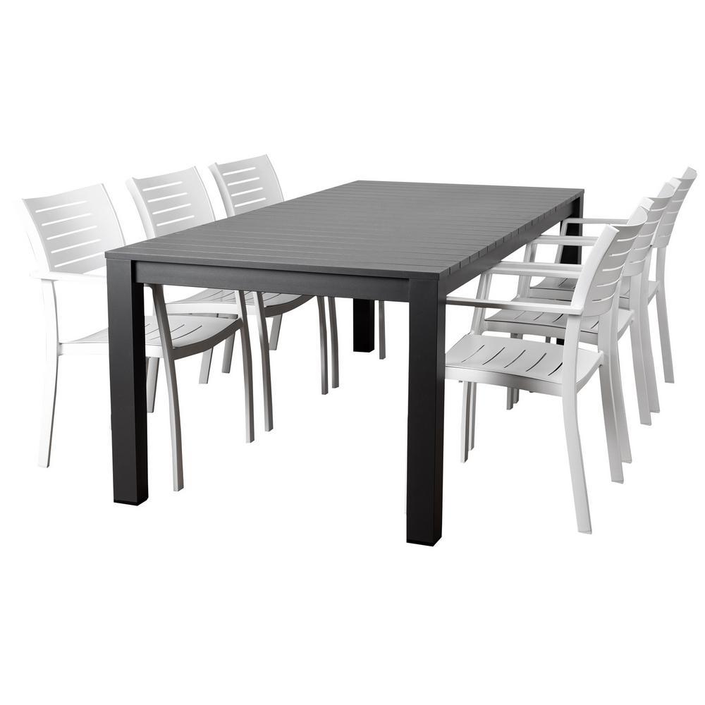 Atlantic Noordam 7-Piece Metal Rectangular Outdoor Dining Set