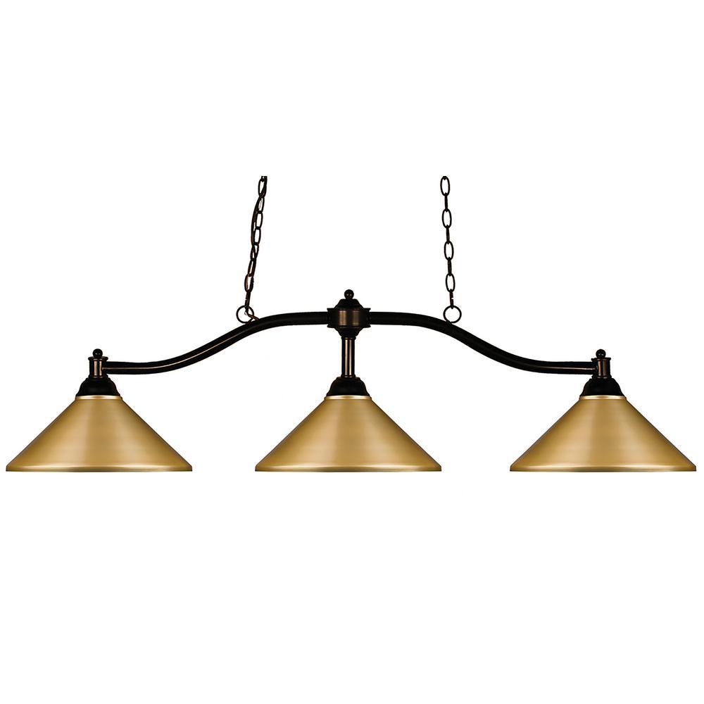 3-Light Bronze Billiard Light