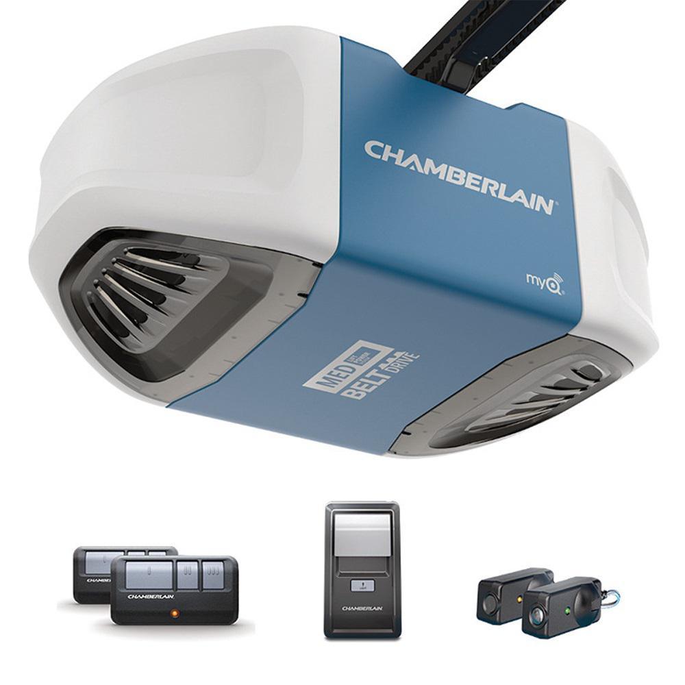 Chamberlain 1/2 Equivalent HP Ultra-Quiet and Strong Belt Drive with Medium Lifting Power Garage Door Opener