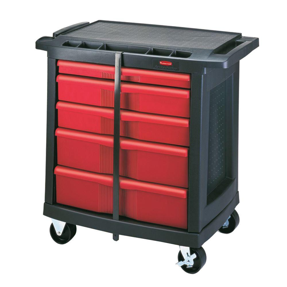 Rubbermaid Commercial Products 32 6 In 5 Drawer Mobile Workbench Fg773488bla The Home Depot