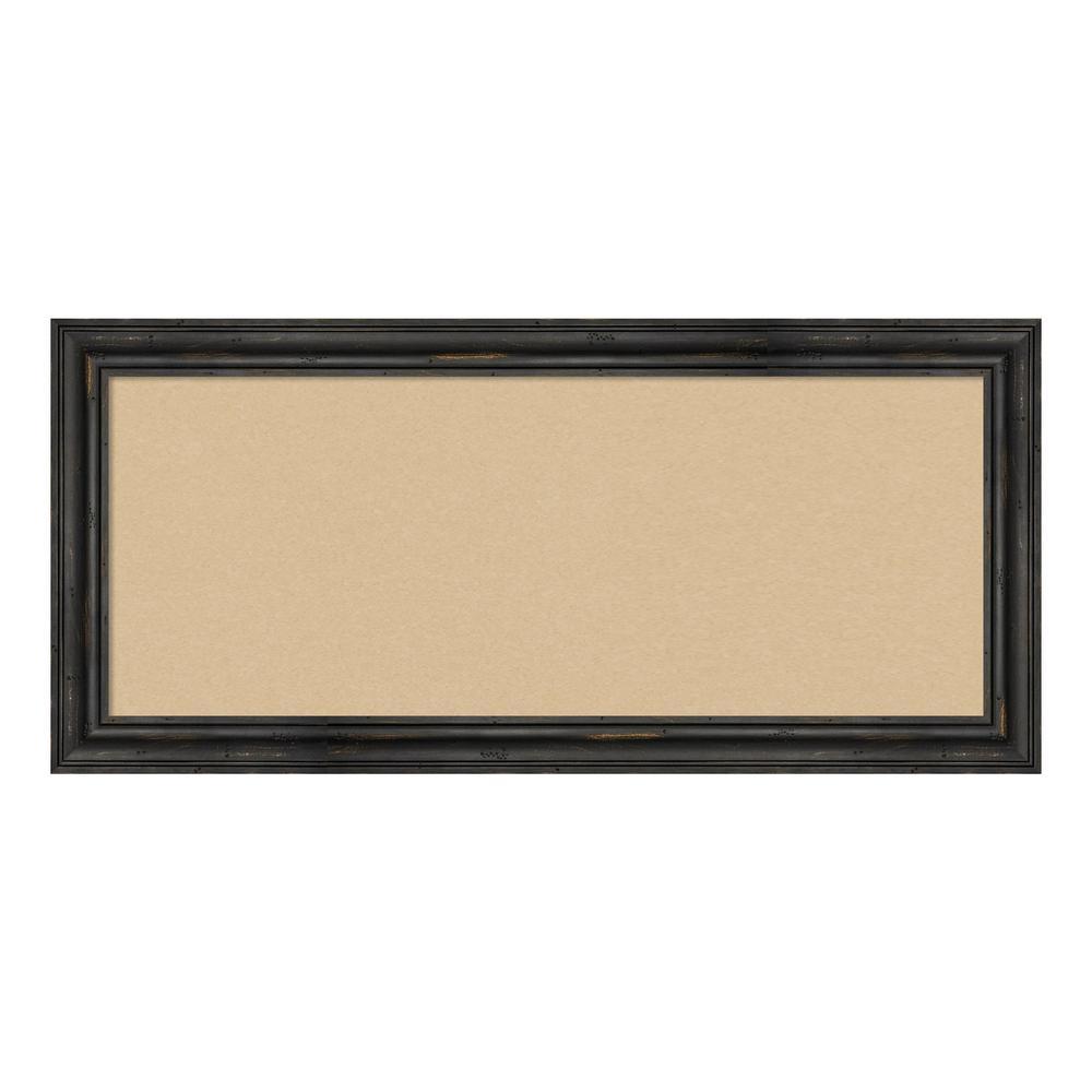 Rustic Pine Narrow Black Framed Beige Cork Memo Board