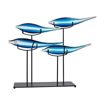 Tultui Ice Blue 22 in. Small Glass and Metal Table Art