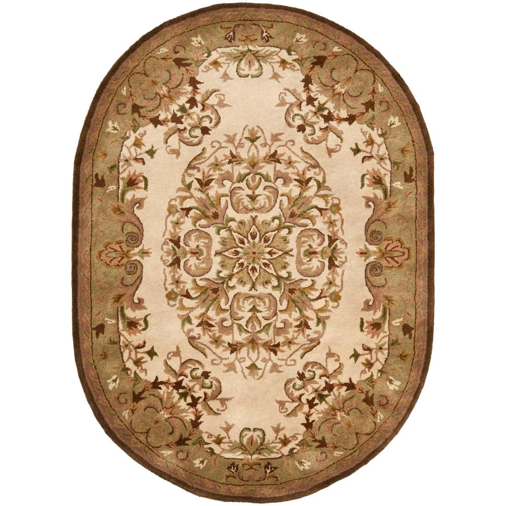 Safavieh Heritage Beige/Green 5 Ft. X 8 Ft. Oval Area Rug