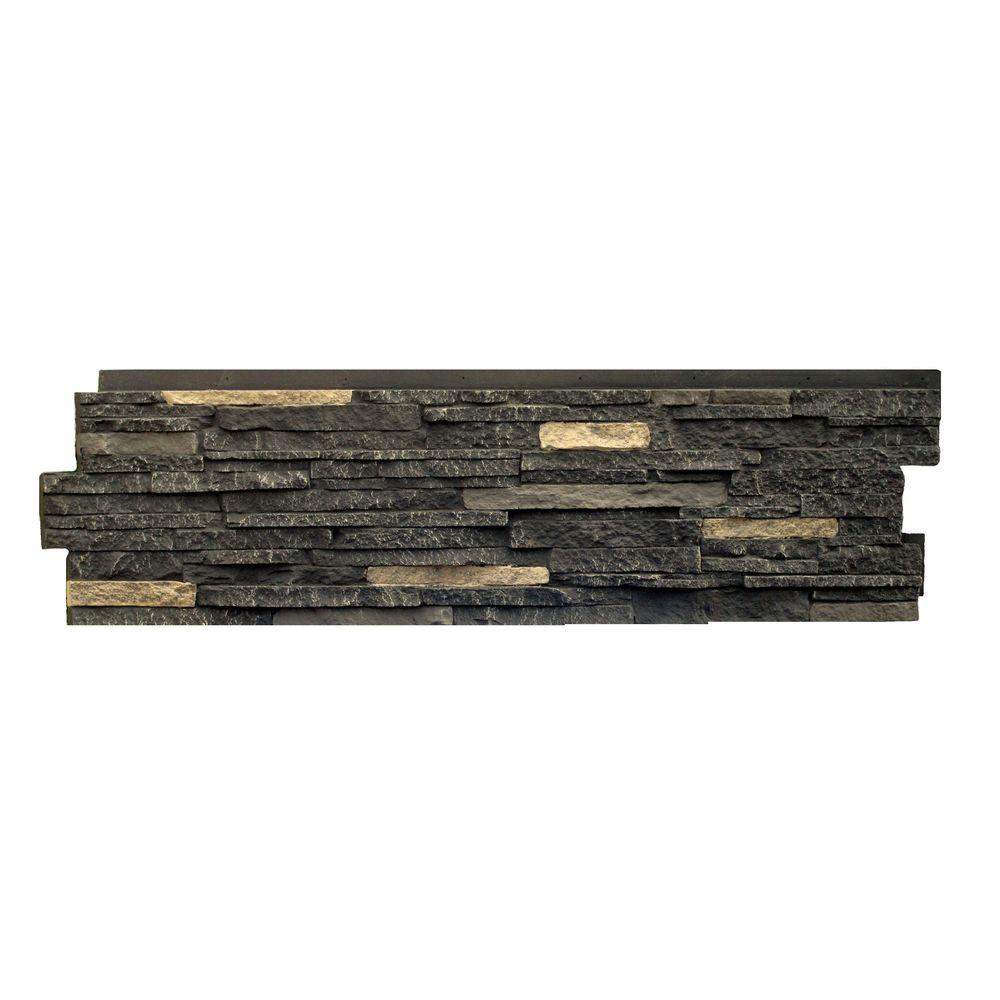 Stacked Stone Bedford Charcoal 13.25 In. X 46.5 In. Faux Stone Siding Panel  (