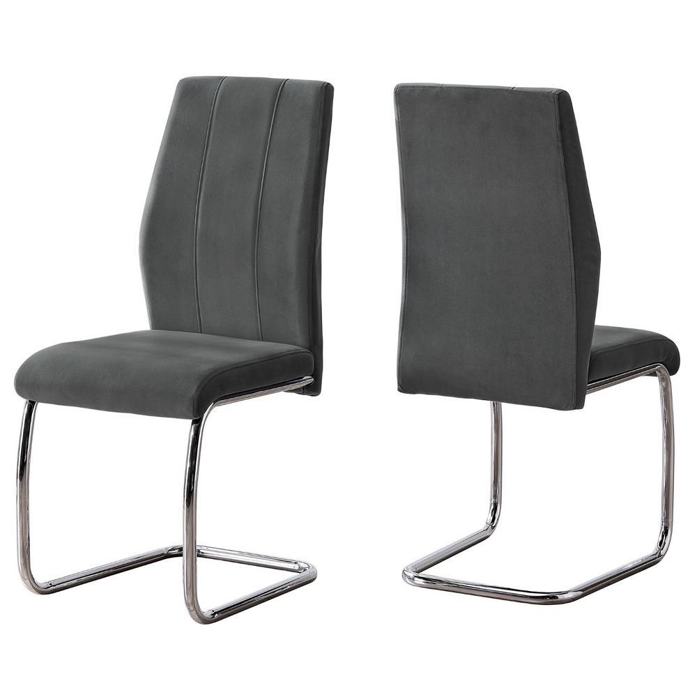 HomeRoots Jasmine 2-Piece Dark Grey Velvet Chrome Metal And Foam Dining Chair