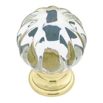 Brass With Clear Acrylic Ridge Ball Cabinet Knob