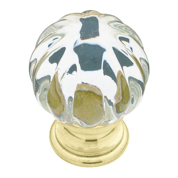 Ridge 1-1/4 in. (32mm) Polished Brass with Clear Acrylic Ball Cabinet Knob