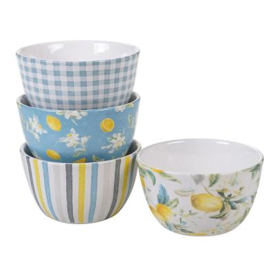 Citron 4-Piece Patterned Multi-Colored Earthenware 24 oz. Ice Cream Bowl Set (Service for 4)