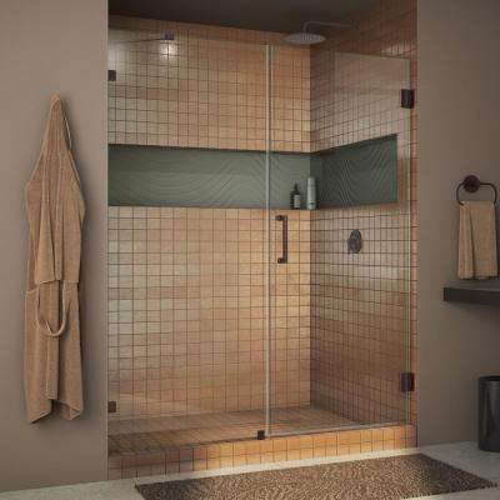 Unidoor Lux 58 in. x 72 in. Frameless Pivot Shower Door in Oil Rubbed Bronze with Handle