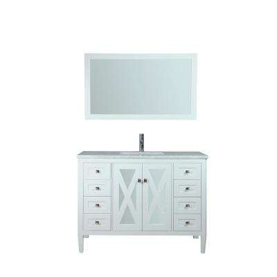 Reflection 48 in. W x 22 in. D x 36 in. H Vanity with Carrara Marble Top in White with White Basin