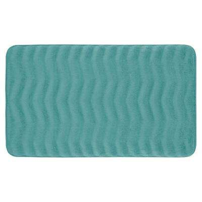 Waves Marine Blue 20 in. x 32 in. Memory Foam Bath Mat