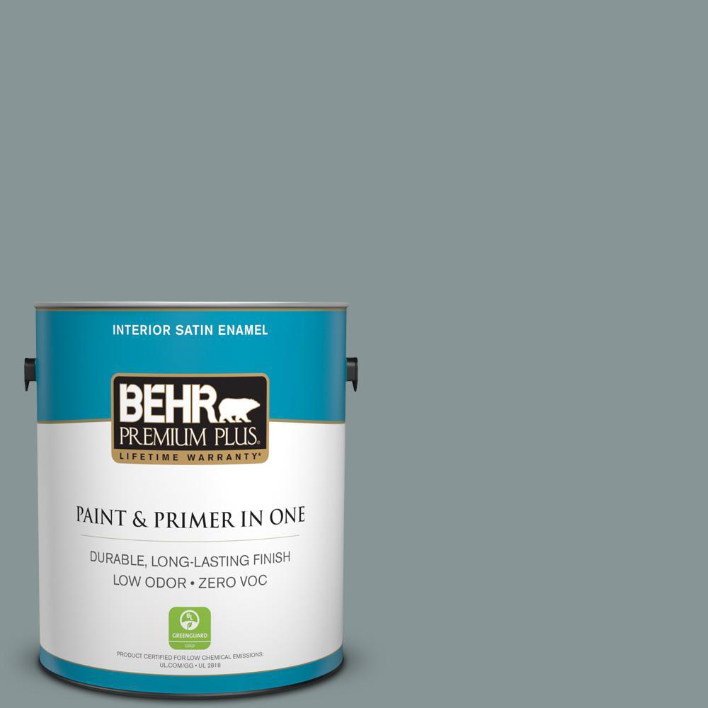 1 gal. #PPU12-15 Atmospheric Satin Enamel Zero VOC Interior Paint and