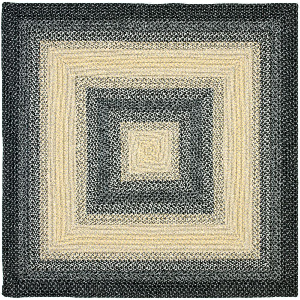 Safavieh Braided Black Grey 6 Ft X 6 Ft Square Area Rug