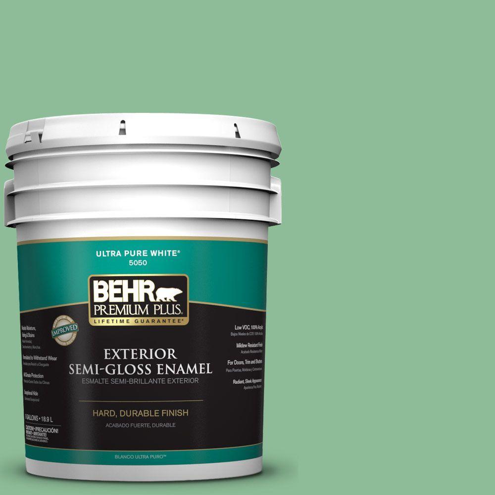 BEHR Premium Plus 5-gal. #M410-4 Garden Swing Semi-Gloss Enamel Exterior Paint
