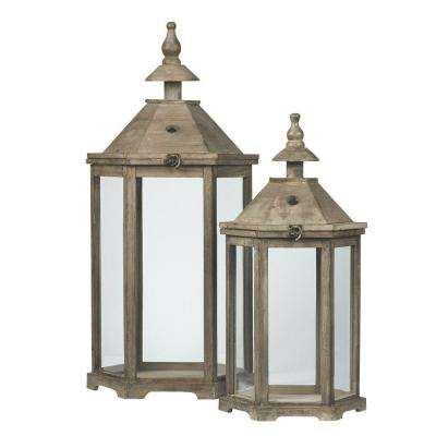 10.5 in. Robin Candle Lanterns in Grey (Set of 2)