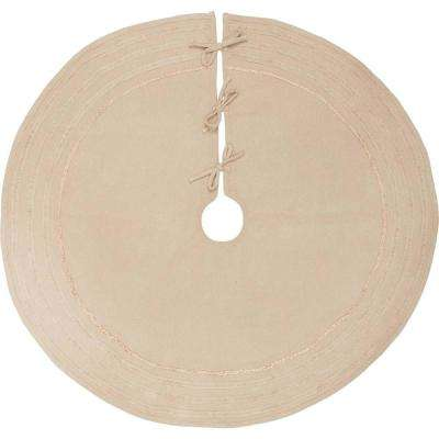 48 in. Burlap Vintage Antique Creme White Farmhouse Christmas Decor Tree Skirt