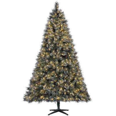 7 5 Ft Pre Lit Led Sparkling Amelia Pine Artificial Christmas Tree With 600 Warm White Micro Dot Lights