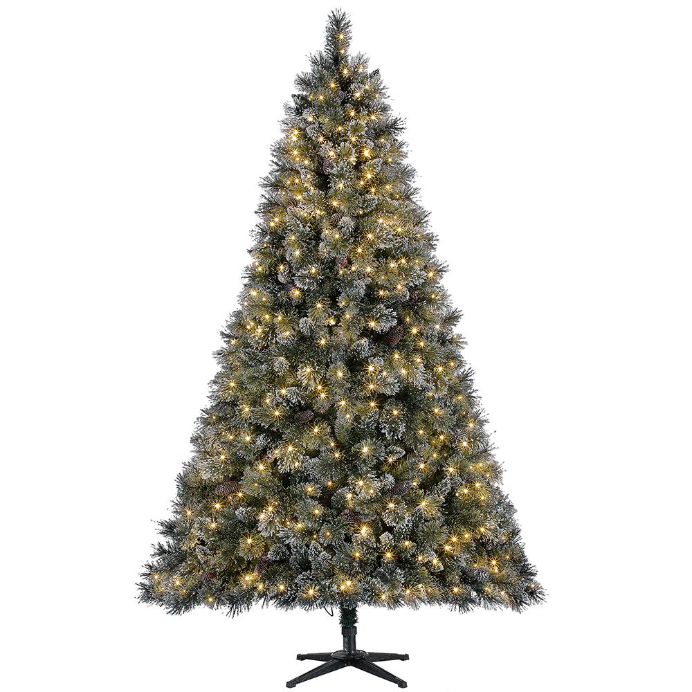 Home Accents Holiday 7 5 Ft Sparkling Amelia Pine Led Pre Lit Artificial Christmas Tree With Warm White Lights Tg76m3acdl19 The Home Depot