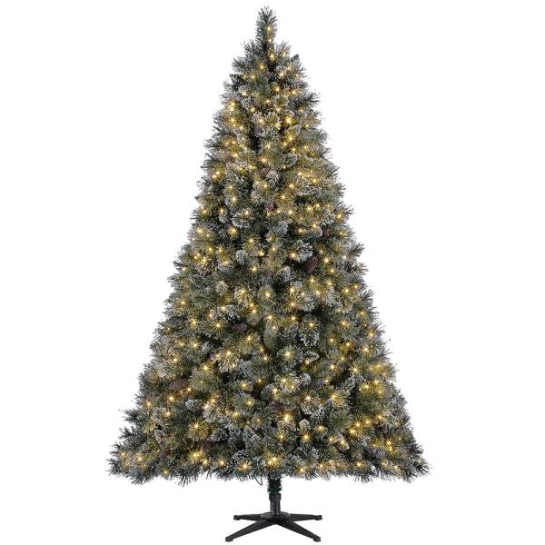 7.5 ft Sparkling Amelia Pine LED Pre-Lit Artificial Christmas Tree with Warm White Lights