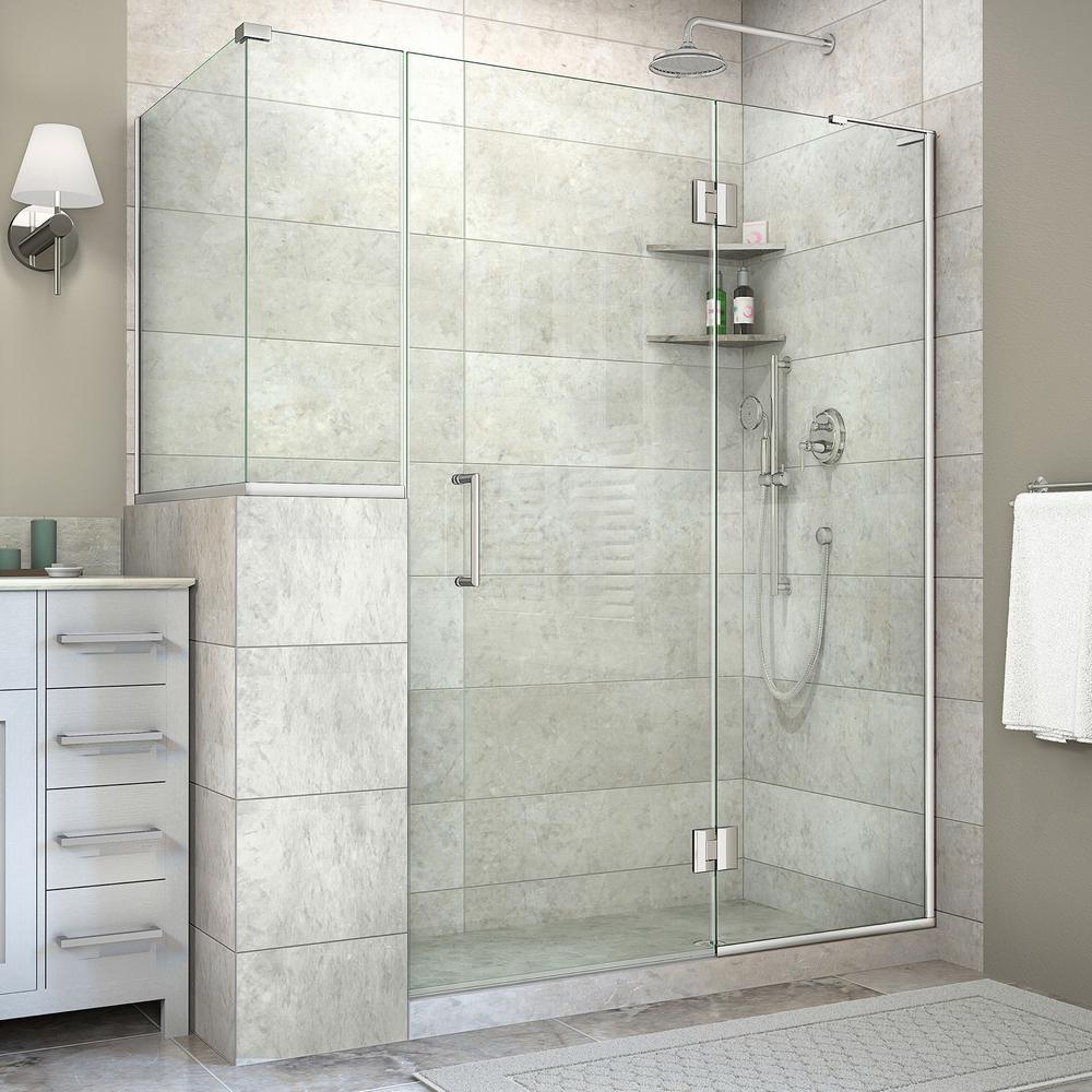 Unidoor-X 36-3/8 in. x 60 in. x 72 in. Frameless Hinged Corner Shower Enclosure in Chrome