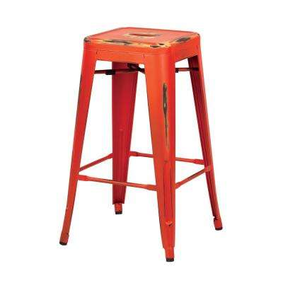 Bristow 26 in. Antique Orange Metal Barstools (2-Pack)