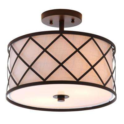 Elizabeth 13.25 in. Metal LED Flushmount, Oil Rubbed Bronze/White