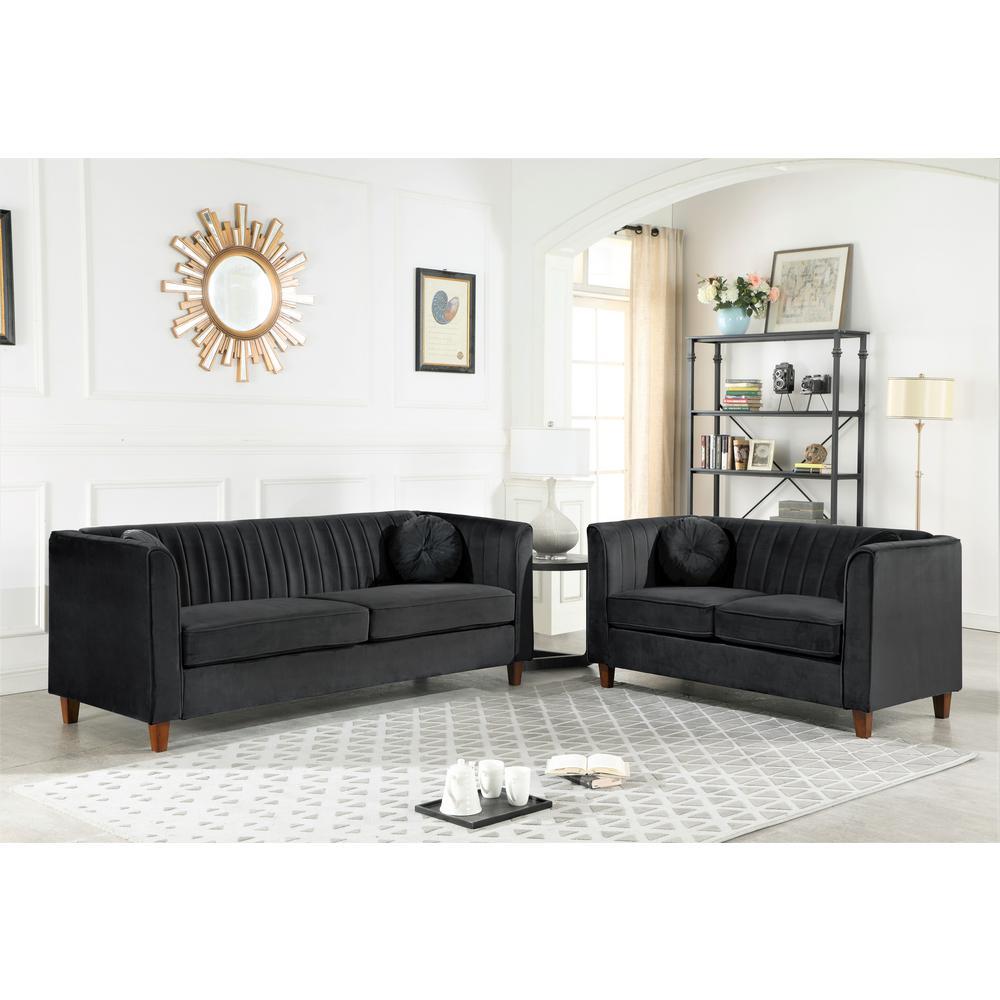 Astounding Lowery Velvet Kitts Classic Chesterfield Loveseat Black Short Links Chair Design For Home Short Linksinfo
